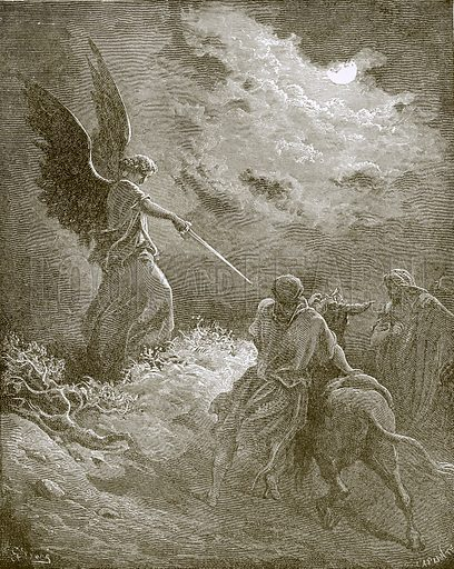 The angel appearing to Balaam. Young people's Bible history (c 1900).