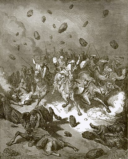 Destruction of the army of the Amorites. Young people's Bible history (c 1900).
