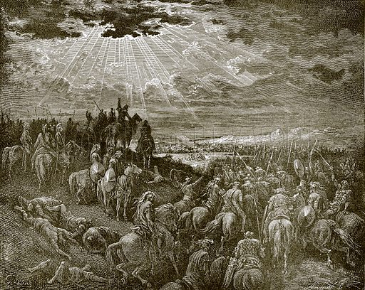 Joshua commanding the sun to stand still. Young people's Bible history (c 1900).