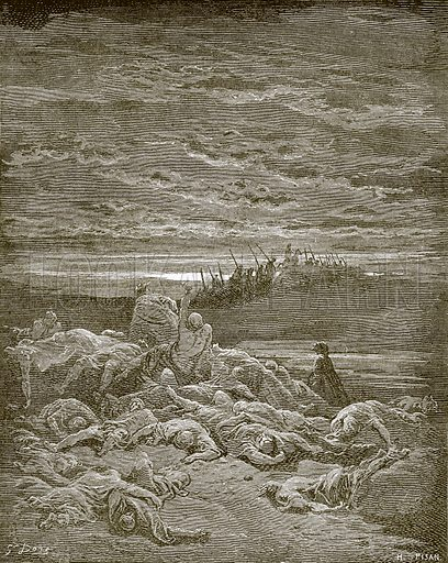 Death of the sons of Jerubbaal. Young people's Bible history (c 1900).