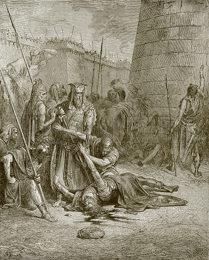 Death of Abimelech. Young people's Bible history (c 1900).