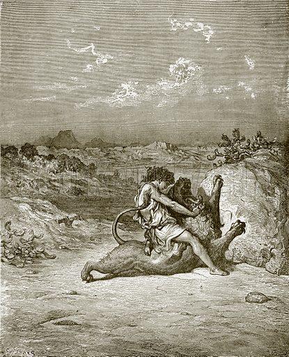 Samson slaying a Lion. Young people's Bible history (c 1900).