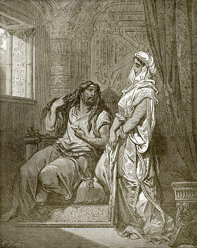 picture, Gustave Dore, artist, illustrator, Bible, Samson, Delilah