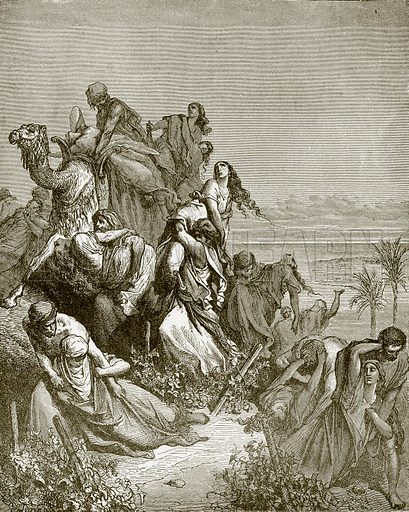 The children of Benjamin carrying off the virgins of Jabesh-Gilead. Young people's Bible history (c 1900).