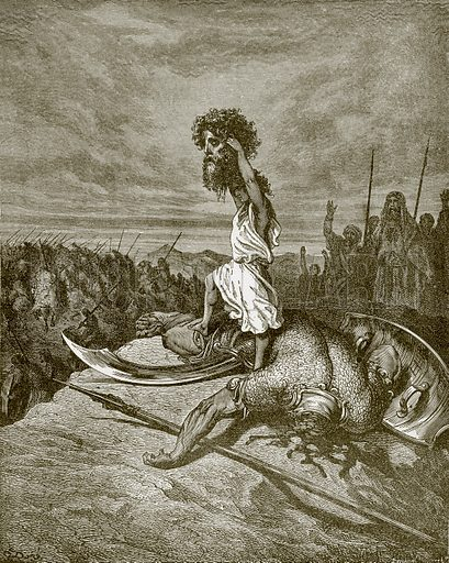 David and Goliath. Young people's Bible history (c 1900).