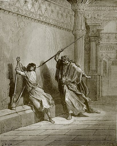 Saul attempts the life of david. Young people's Bible history (c 1900).