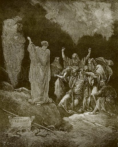 Saul and the witch of Endor. Young people's Bible history (c 1900).