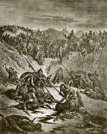 Combat between the champions of Ish-Bosheth. Young people's Bible history (c 1900).