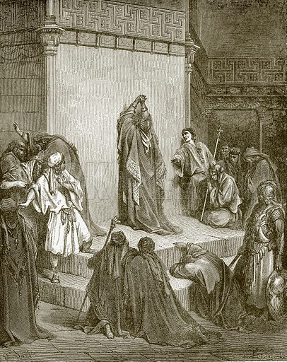 David mourning for the death of Absalom. Young people's Bible history (c 1900).