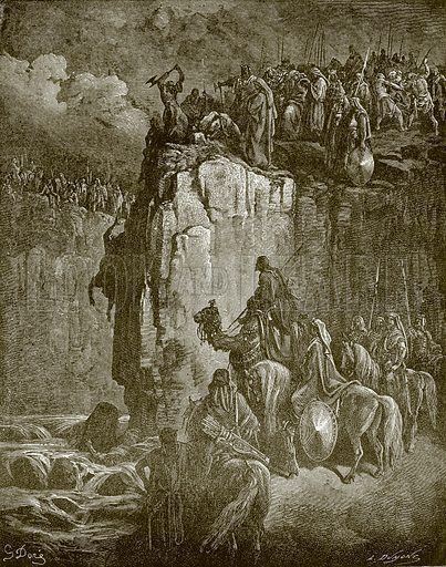Slaughter of the prophets of Baal. Young people's Bible history (c 1900).