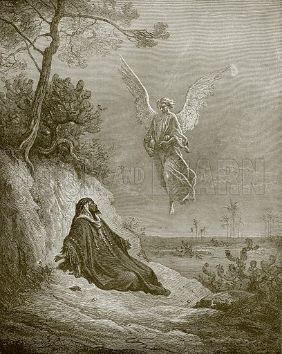 Elijah nourished by an angel. Young people's Bible history (c 1900).