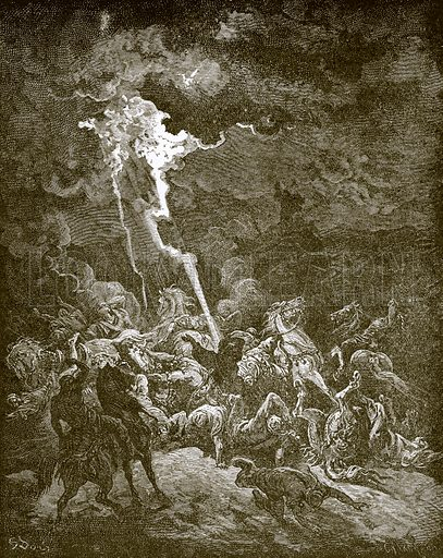 Elijah destroys the messengers of Ahaziah by fire. Young people's Bible history (c 1900).