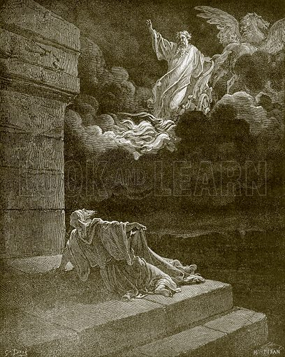 Elijah taken up to heaven in a chariot of fire. Young people's Bible history (c 1900).