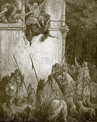The death of Jezebel. Young people's Bible history (c 1900).