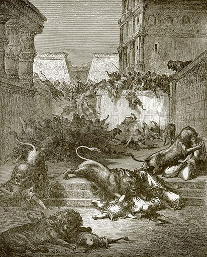 The strange nations slain by the lions of Samaria. Young people's Bible history (c 1900).