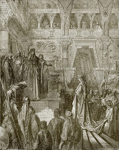 Solomon receiving the queen of Sheba. Young people's Bible history (c 1900).