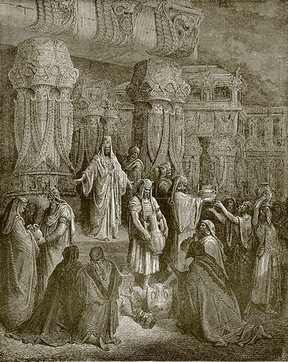 Cyrus restoring the vessels of the temple. Young people's Bible history (c 1900).