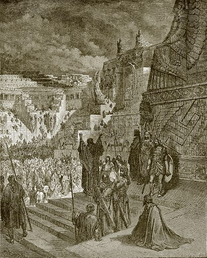 Artaxerxes granting liberty to the Jews. Young people's Bible history (c 1900).