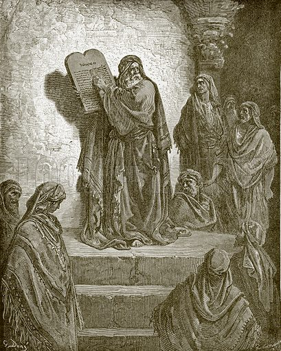 Ezea reading the law in the hearing of the people. Young people's Bible history (c 1900).
