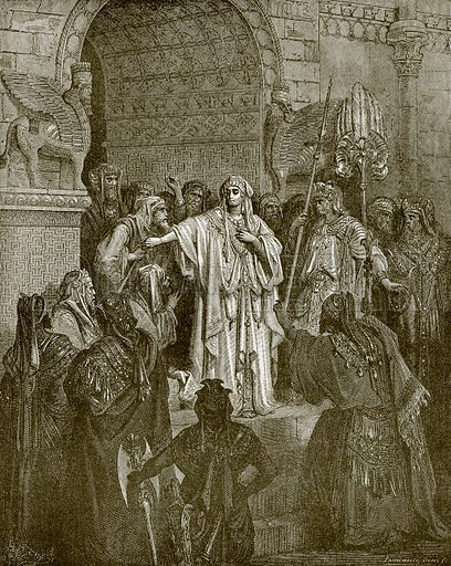 The queen Vashti refusing to obey the command of Ahasuerus. Young people's Bible history (c 1900).