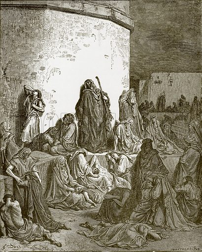 The people mourning over the ruins of Jerusalem. Young people's Bible history (c 1900).