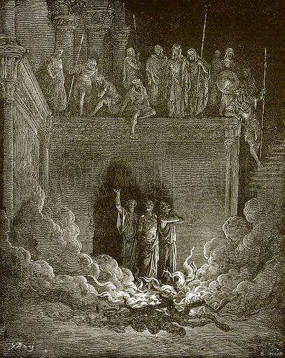 Shadrach, Meshach and Abed-Nego in the fiery furnace. Young people's Bible history (c 1900).