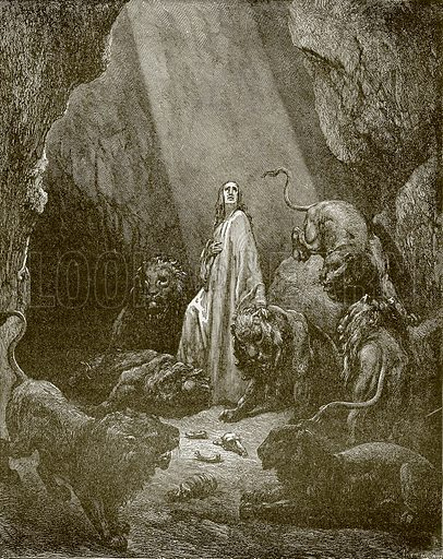 Daniel in the den of lions. Young people's Bible history (c 1900).