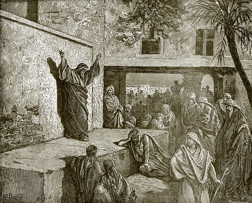 Micah exhorting the Israelites to repentance. Young people's Bible history (c 1900).