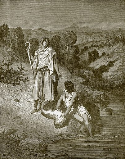 Tobias and the angel. Young people's Bible history (c 1900).