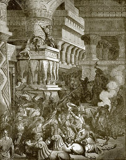 Jonathan destroying the temple of Dagon. Young people's Bible history (c 1900).
