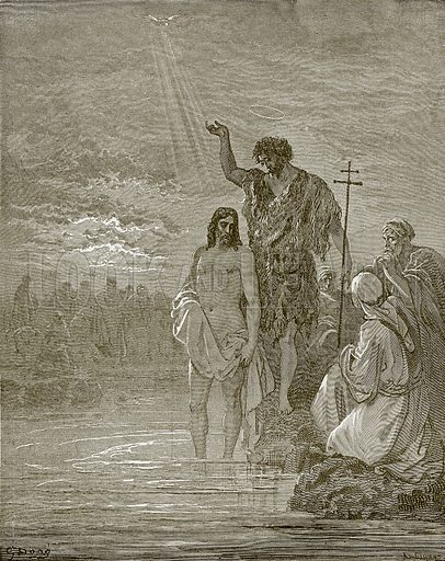 The baptism of Jesus. Young people's Bible history (c 1900).