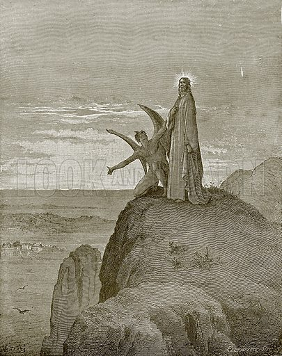 The temptation of Jesus. Young people's Bible history (c 1900).