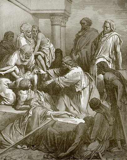 Jesus healing the sick. Young people's Bible history (c 1900).