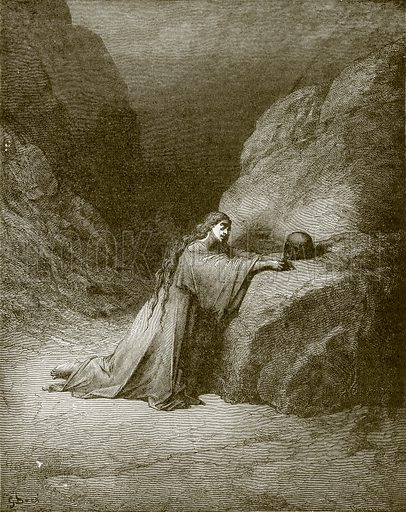 Mary Magdalene repentant. Young people's Bible history (c 1900).