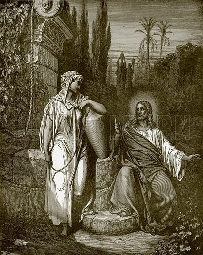 Jesus and the woman of Samaria. Young people's Bible history (c 1900).