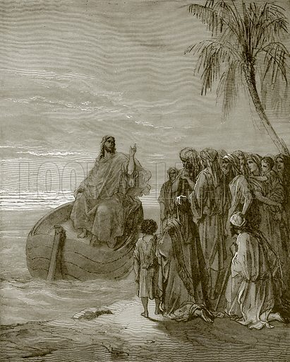 Jesus preaching ath the sea of Galilee. Young people's Bible history (c 1900).