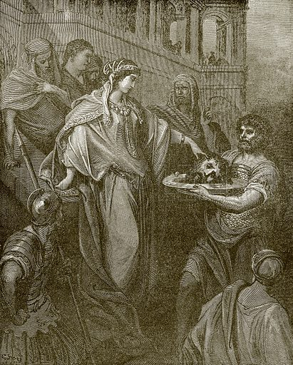 Herodias receiving the head of John the baptist. Young people's Bible history (c 1900).