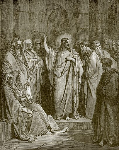Jesus preaching in the Synagogue. Young people