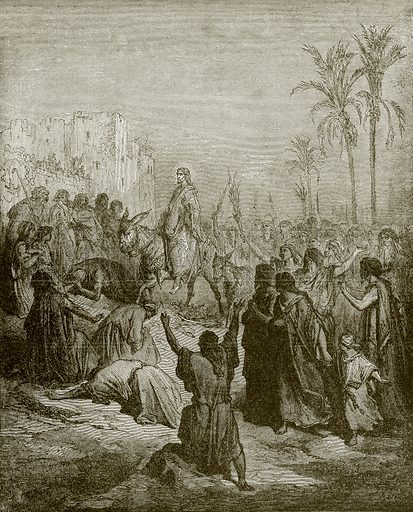 Entry of Jesus into Jerusalem. Young people's Bible history (c 1900).