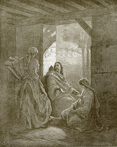 Jesus at the home of Mary and Martha. Young people's Bible history (c 1900).