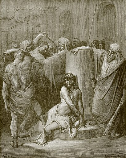 Jesus scourged. Young people's Bible history (c 1900).