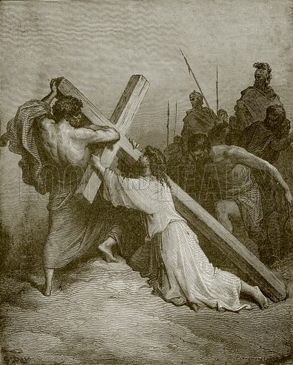 Jesus falling beneath the cross. Young people's Bible history (c 1900).