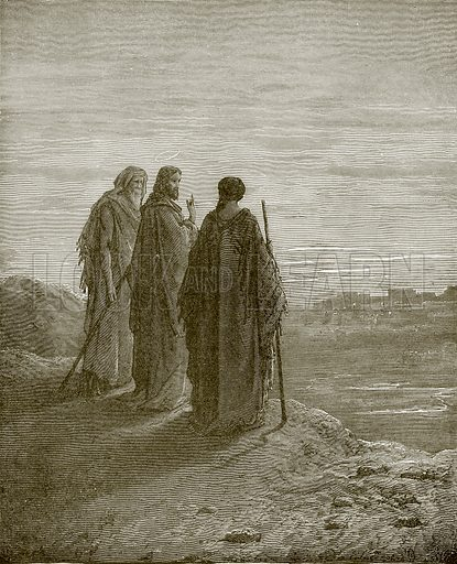 Jesus and the disciples going to Emmaus. Young people