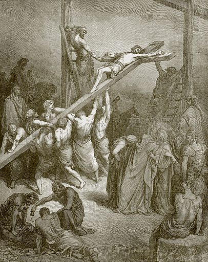 The erection of the cross. Young people's Bible history (c 1900).