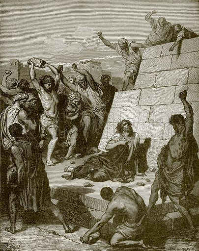 Martyrdom of St. Stephen. Young people