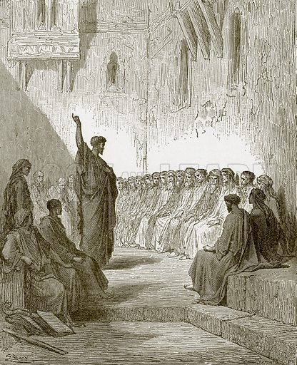 St. Paul preaching to the Thessalonians. Young people