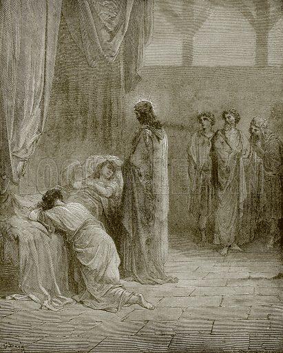 Jesus raising up the daughter of Jairus. Young people