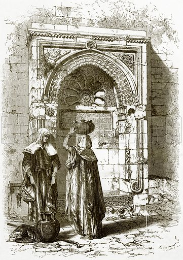 Saracenic fountain, near the council house, Jerusalem. All Round the World, First Series (1868).