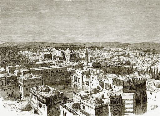 View of Jerusalem from over the pool of Hezekiah. All Round the World, First Series (1868).