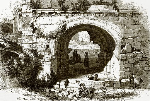 Gate of the hospital of the knights of St. John at Jerusalem. All Round the World, First Series (1868).